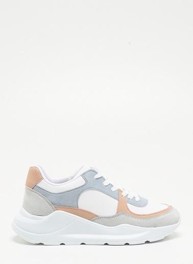 F By Fabrika Kadın Beyaz Mavi Pudra Sneakers EMELY Renkli